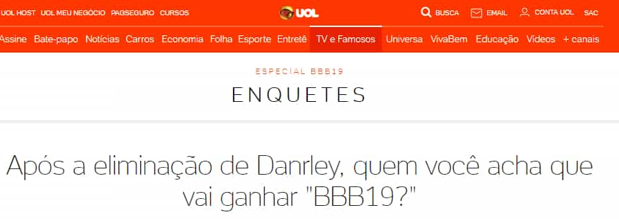 enquete UOL BBB
