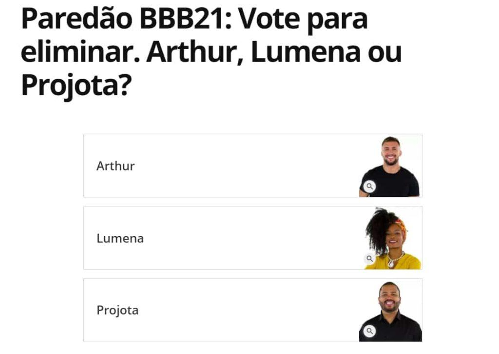 votar em Arthur, Lumena e Projota