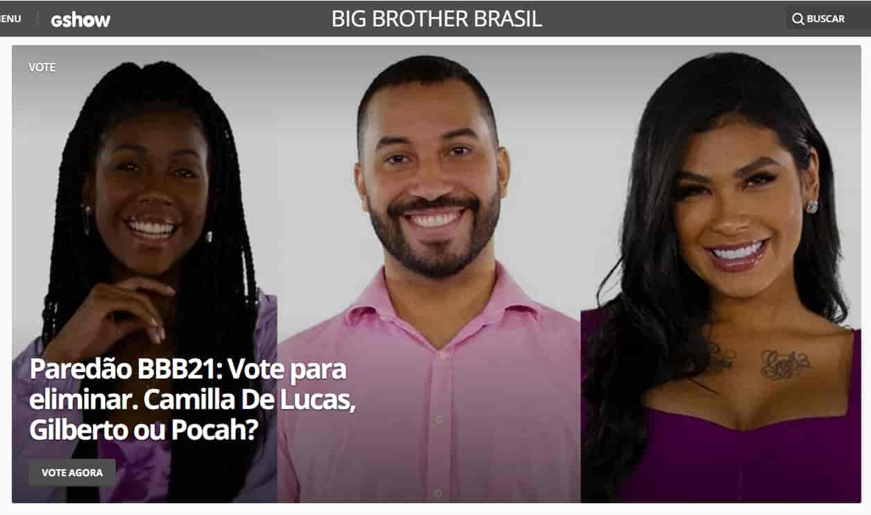 16° paredão BBB 2021 – quem quer eliminar: Camilla de Lucas, Gilberto e Pocah