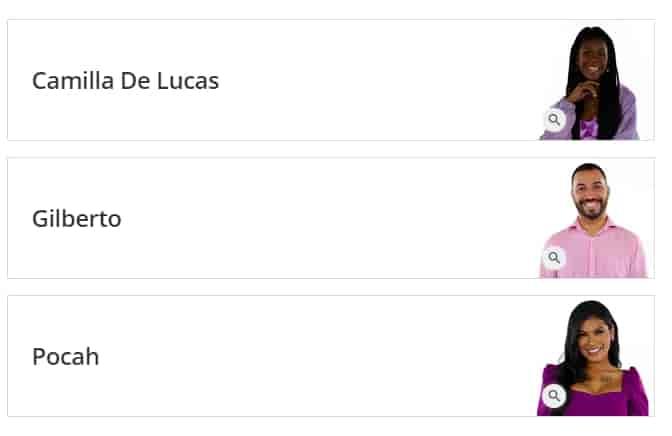 votar Camilla de Lucas, Gilberto e Pocah