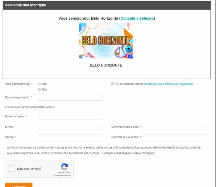 preenche o formulário de inscrição BBB