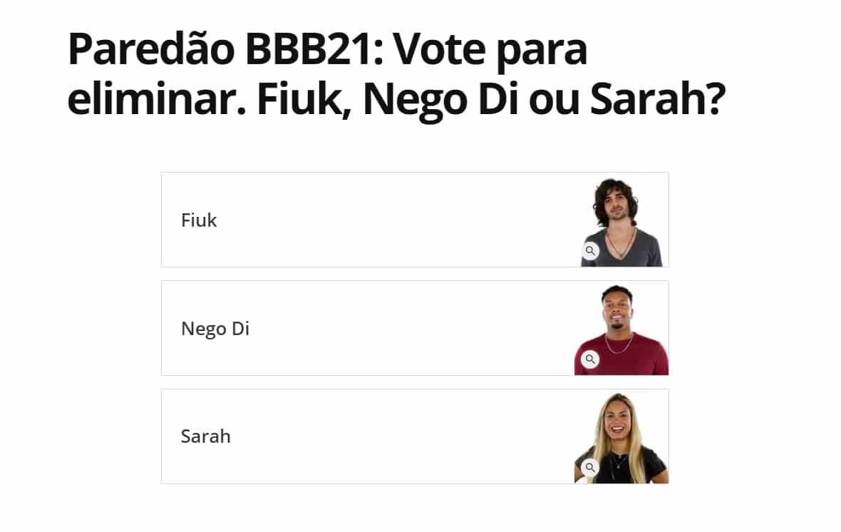 Terceiro paredão BBB21 – quem quer eliminar: Fiuk, Nego Di ou Sarah