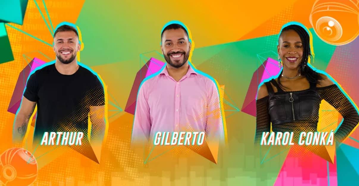 Paredão BBB21: Vote para eliminar. Arthur, Gilberto ou Karol Conká?