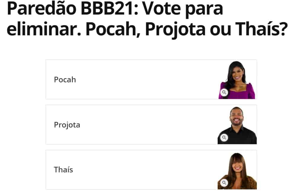 votação enquete bbb21 paredão