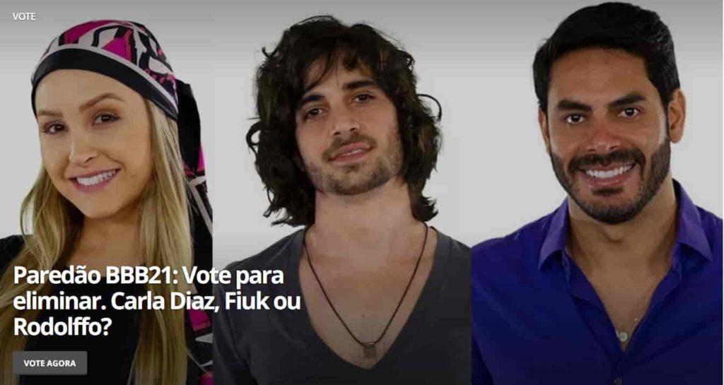 quem quer eliminar Carla Dias, Fiuk ou Rodolffo