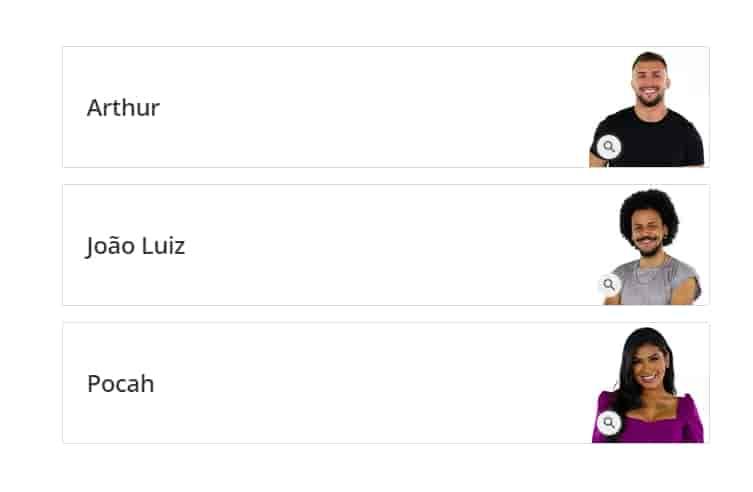 votar para eliminar Arthur, João Luiz ou Pocah