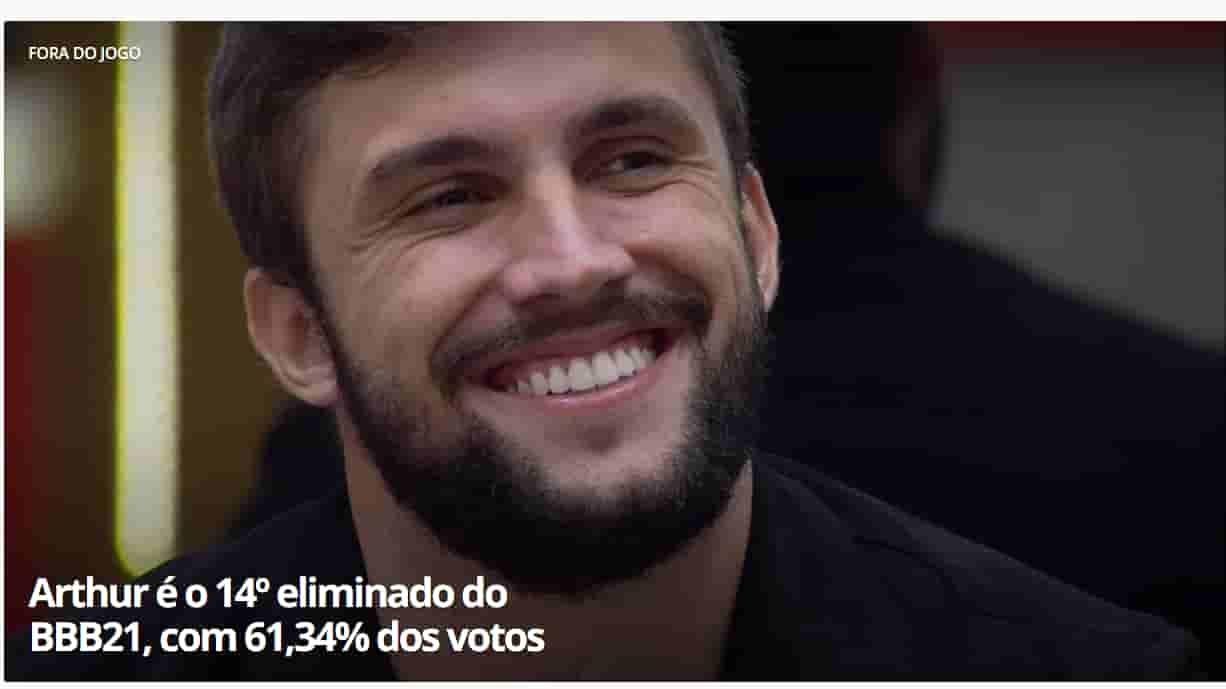 Arthur é eliminado do BBB 21 com 61,34% dos votos